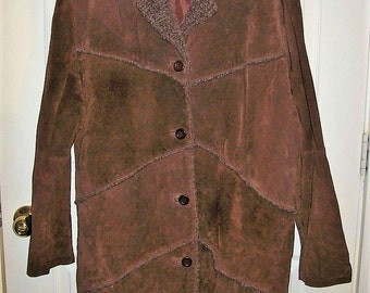 Vintage Ladies Brown Suede Leather Patchwork Jacket by Lips Size 3X Only 18 USD