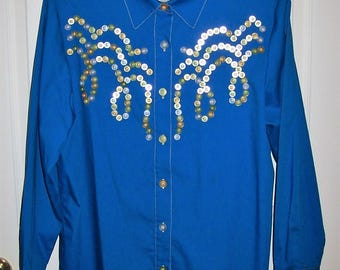 Vintage Ladies Blue Button Front Long Sleeve Blouse Wearable Art by Bob Mackie Medium Only 10 USD