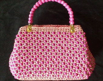 Vintage SCHIAPARELLI Pink Woven and Beaded Purse 1940-50's- As New with Tag