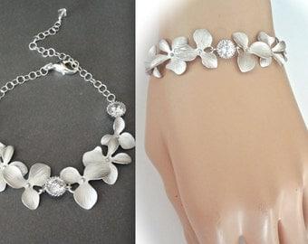 Silver orchid bracelet, Destination wedding jewelry, Cascading orchid bracelet, Cubic zirconia's,Brides bracelet, Wedding Jewelry, ANA