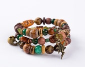 Woodland Faerie Beaded Wire Wrap Bracelet.