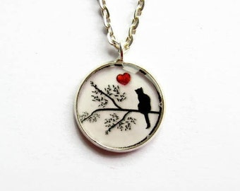 Black Cat Necklace, Cat and Heart Necklace, Picture Jewelry, Cat Jewellery, Gift for Cat Lover, Valentine Gift for Her, Small Pendant