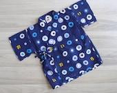 15% SALE (Code In Shop) - Vintage Haori Blue Bubbles Seersucker Cotton Kimono Top (1-3 Years)