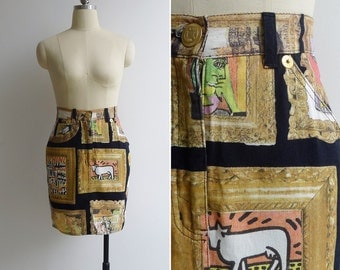 10-25% OFF Code In Shop - Vintage MOSCHINO Jeans 'Hall Of Fame' Oil Painting Denim Tight Skirt XS or S