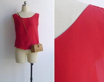 15% SALE (Code In Shop) - Vintage 80's Bright Red Silky Tank Top XS or S