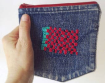 Watermelon / Embroidered Pouch / Denim Embroidered Pouch / Earbud Pouch / Tampon Pouch / Zippered Wallet / Jewelry Pouch / Bluetooth Pouch