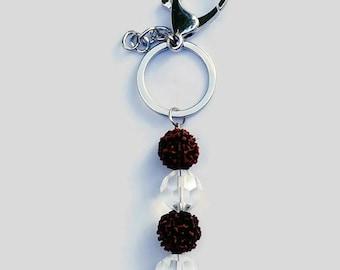 Quartz Crystal Key Chain, Gym Accessory, Rudraksha Bead Key Chain, Meditation Bead,Prayer Beads KeyRing,Handmade Key Chain, Beaded Key Chain
