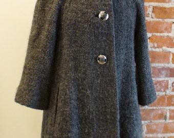 Vintage Wool Frisee Trapeze Coat Size 6