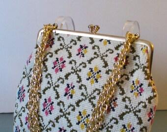 Vintage Needlepoint Clutch Bag