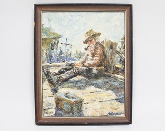 Original Acrylic Painting, Fisherman at Doc, Vintage Nautical Art