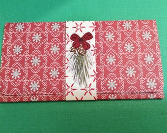 Christmas Money/Gift/Check Card Holder, Red, Gray, Beige, Snowflakes,Checkered Bow, Ferns, Present, Handmade