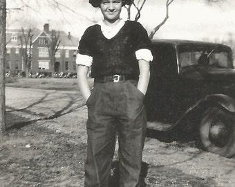 "Vintage Snapshot ""Betty Jo"" Teenage Girl College Campus Blue Jeans 1940's Found Vernacular Photo"