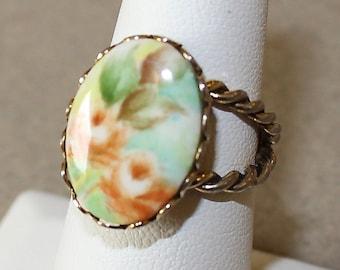 Vintage Ceramic, Floral Cameo, Adjustable Ring