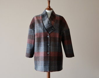 Tartan coat, Wool coat, Maxi coat, Oversized coat, Winter coat, Kimono coat, Plaid coat, Plus size coat, Grey coat, Modern coat