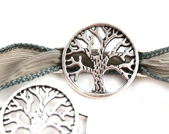 1pc Antique Silver Tree of Life Connector, Circle metal bracelet connector for flat leather, ribbon, Greek metal casting - F540