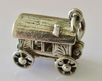 Silver Gypsy Caravan and Fortune Teller Opening Charm