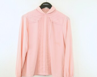 1980s Pink Pleated Secretary  blouse small - medium