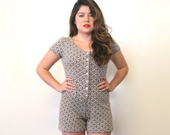 1970s dot print playsuit/ one piece romper/ shorts/ small