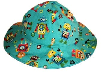 Baby Sun Hat, Baby Boy Hat, Robots Sun Hat, Summer Hat, Newborn Hat, Toddler Sun Hat, Floppy Beach Hat, Infant Cotton Hat, Made To Order