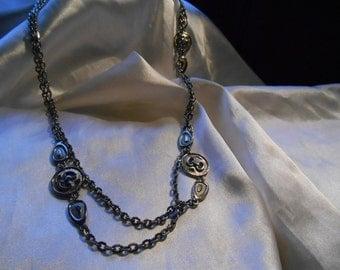 Long Silver Tone Modernist Chain