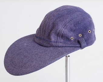 Vintage Fly Fishing Hat Blue Wool Long Bill Fishing Expedition Hat