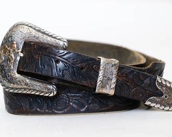 1950s Sterling Western Belt Hand Tooled Frontier Leather Western Rancher Cowboy Belt