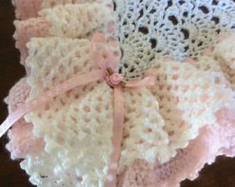 Crochet baby blanket,extra full ruffles and frills,off White,Pink/3 great sizes,Christening/Baby Shower/Welcome Home gift,FREE USA Ship