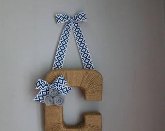 Geometric Diamond Monogram Wreath. Farmhouse Style Jute Letter.