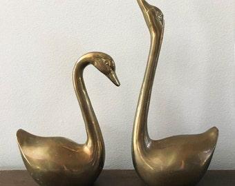 Brass Swan Pair ~ Mid Century Home Decor