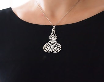 Ornate Silver Pendant Necklace, Ornamental, Abstract Rumi, Cut Out Sterling Silver