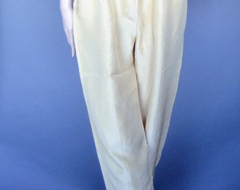 pale yellow silky pants, oversized trousers, 80s vintage, high waist pleated baggy pants