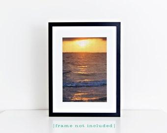 Sunset on the Sea Vertical Photo, Stormy Sky Ocean Beach Photography, Travel Art, Tropical Coastal House Decor, Nautical Home Decor Wall Art