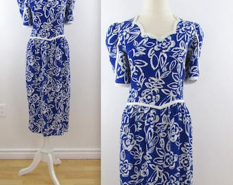 Maggy Sapphire Petal Dress - Vintage 1980s does 50s Royal Blue Wiggle Dress in Small Medium