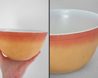 FLAMEGLO Pyrex Bowl 1960s 402 Series Orange + Yellow Two Toned Ovenware Nesting Mixing