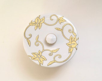 Vintage White and Gold Porcelain Covered Box