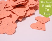 Coral Plantable Seed Paper Confetti Hearts - READY-TO-SHIP - Flower Seed Wedding Favors, Bridal Shower Favors & Baby Shower Favors
