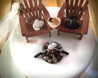 Rustic Smore Wedding Cake Toppers / Wedding Cake Topper Cabin Chairs / Smore Wedding/ Rustic Wedding / Camping Wedding