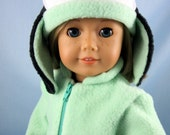 RESERVED for Terry - Penguin Ear Flap Hat for 18 Inch Doll - Fits American Girl - Soft Green