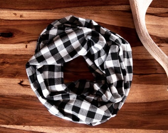 Buffalo Plaid Scarf, Plaid Infinity Scarf, Black Buffalo Check Scarf, Coworker Gift Plaid Flannel Scarf Sister Gift for Her Best Friend Gift