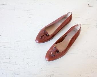 Salvatore Ferragamo Brown Italian Leather Loafers / 8.5
