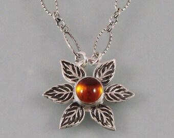 Sunflower necklace - boho flower pendant necklace - sterling silver woodland charm necklace - citrine necklace - November birthstone