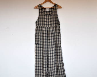 Vintage 90s Plaid Grunge Babydoll Pocket Maxi Tent Dress