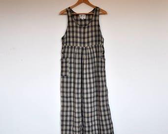 Vintage 90s Plaid Grunge Babydoll Pocket Maxi Tent Dress