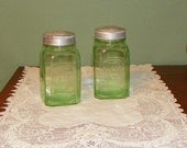 Vintage Hoosier Cabinet CANISTERS  Flour Sugar Depression Vaseline Glass Jars green ribbed