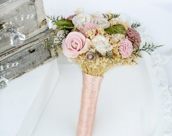 Pink Flowers Small Wedding Bouquet // Dusty Rose, Green, Bridal Bouquet, Greenery, Lace, Sola Flower Bouquet, Small Bridesmaid Bouquet
