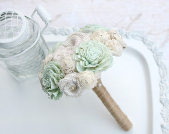 Mint Green Bridesmaid Bouquet, Small Petite // Mint, Wedding Bouquet, Sola Flower, Burlap Bouquet, Wedding Party, Bridal Party, Bouquet