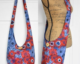 Hobo Bag Crossbody Bag Boho Bag Sling Bag Hippie Purse Bohemian Purse Slouch Purse Hippie Bag Hobo Purse Handmade Bag Stars Fabric Purse
