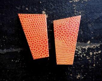 Great Kitsch Huge 1980's Clip Earrings, Giraffe Print