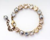 Grey Pearl Bracelet, Austrian Crystal Jewelry, Grey Rhinestone Bracelet, Antiqued Brass Nickel Free Bracelet, Rhinestone Jewelry, Dusana