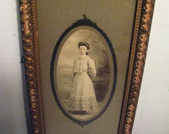 Victorian Photo of Woman in Original Gilded Wood Frame